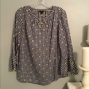 Talbots black and white check blouse.